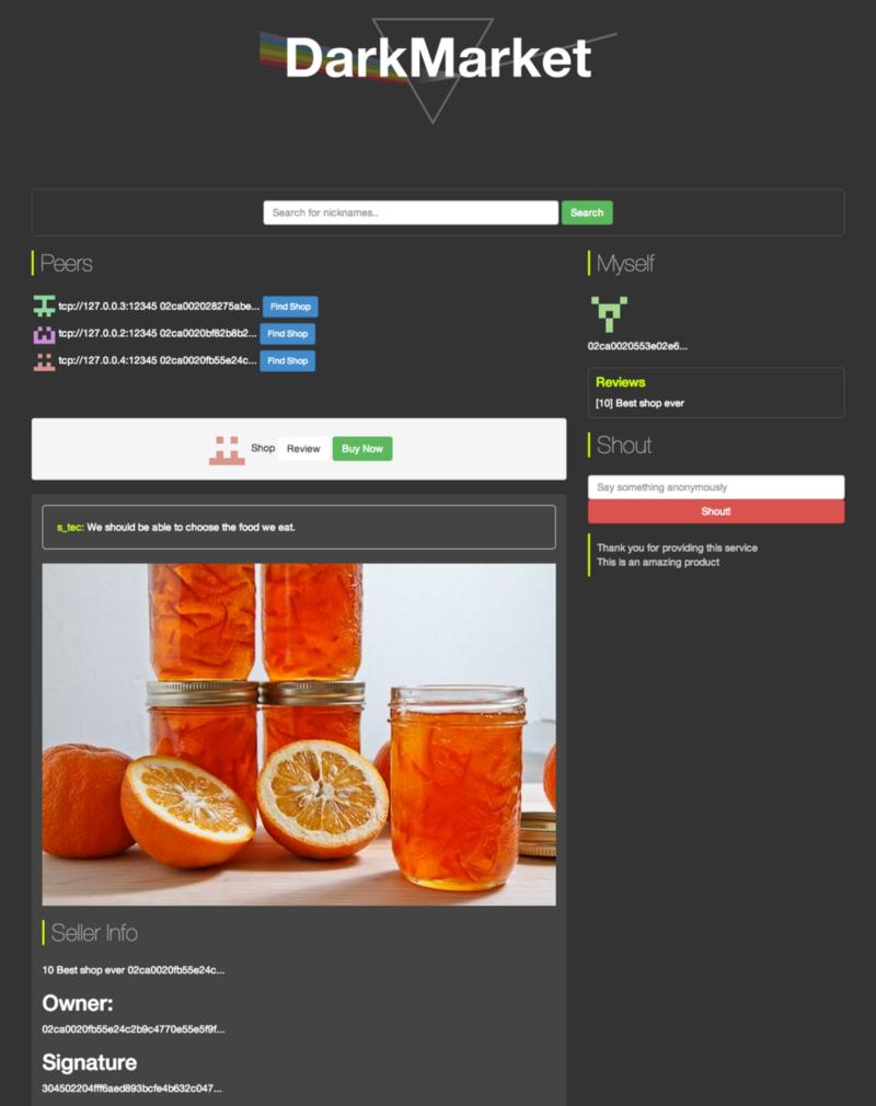 DarkMarket App Page