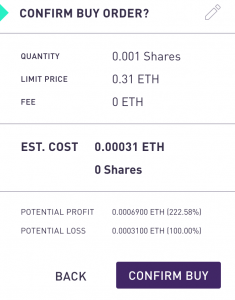 Confirm Buy order in Augur