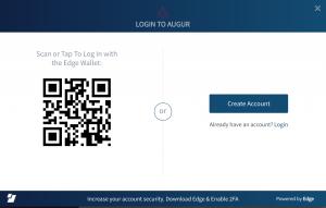 Edge login screen in Augur